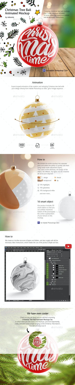 Christmas Tree Ball Animated Mockup - Product Mock-Ups Graphics