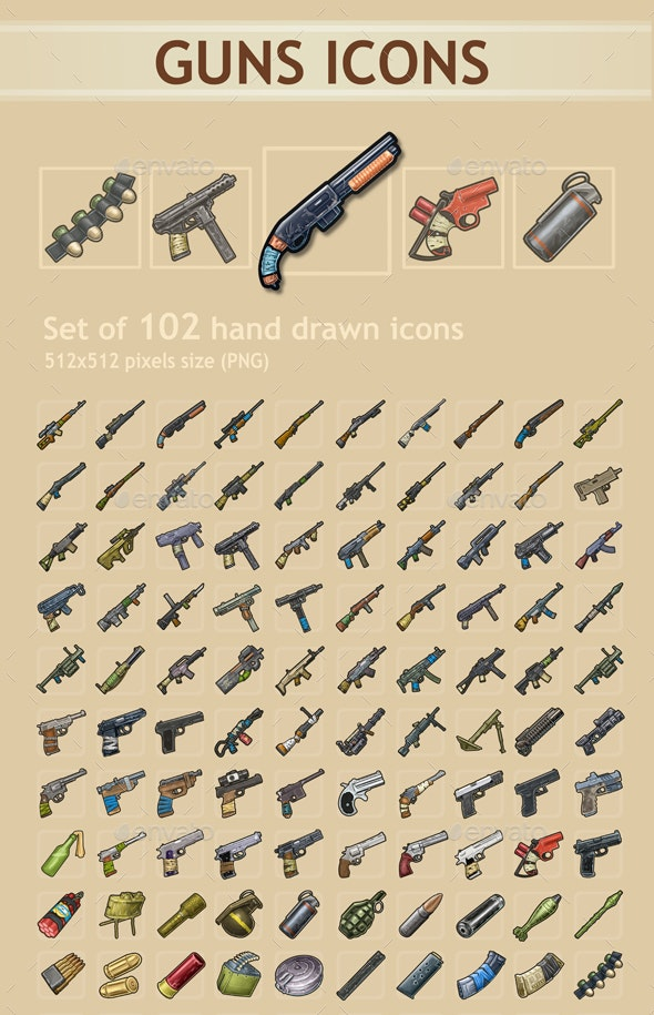 Guns Icons - Miscellaneous Game Assets