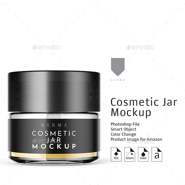 Cosmetic Glass Jar Mockup 1