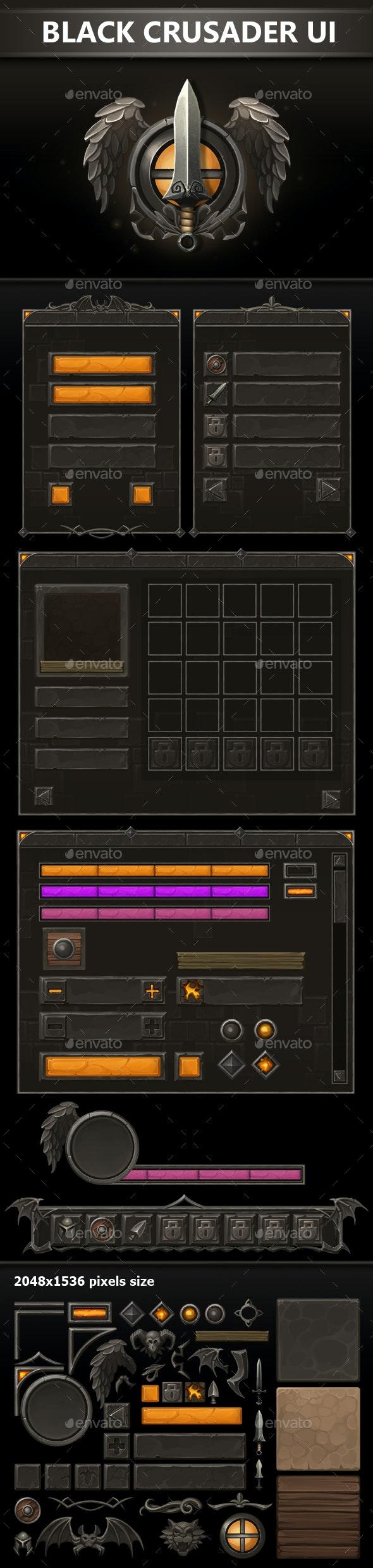Black Crusader UI - User Interfaces Game Assets