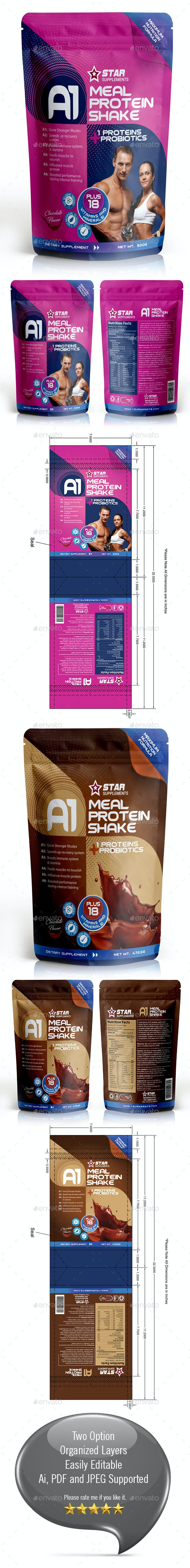 Protein Supplement Packaging Template - Packaging Print Templates