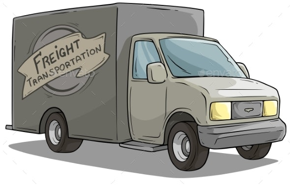 Cartoon Freight Transportation Gray Cargo Truck - Man-made Objects Objects
