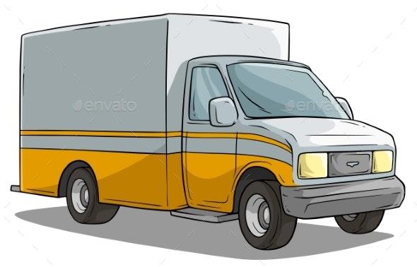 Cartoon Freight Transportation Yellow Cargo Truck - Man-made Objects Objects