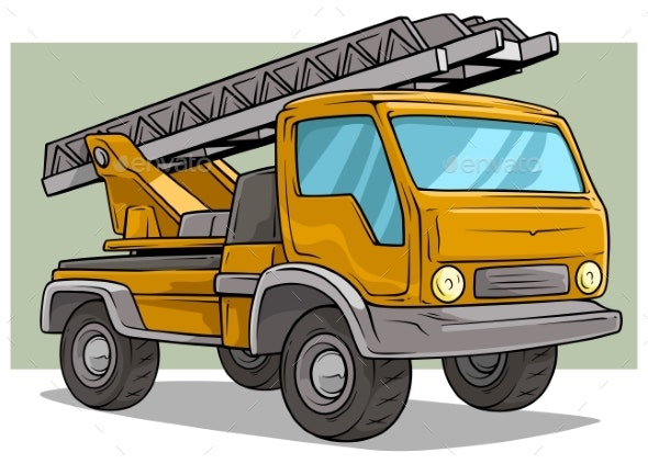 Cartoon Yellow Cargo Truck with Metal Ladder - Man-made Objects Objects