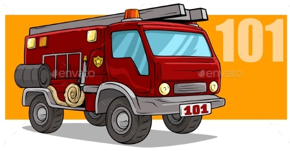 Cartoon Emergency Rescue Fire Department Truck - Man-made Objects Objects