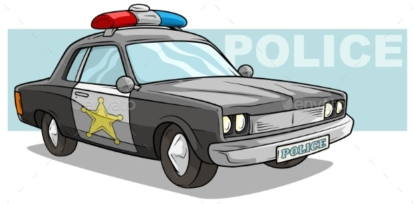 Cartoon Black Police Car with Golden Badge - Man-made Objects Objects
