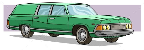 Cartoon Green Long Retro Car Vector Icon - Man-made Objects Objects