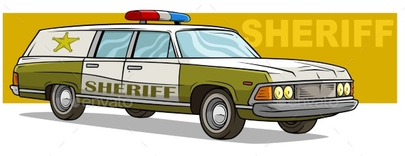 Cartoon Green Sheriff Retro Car with Golden Badge - Man-made Objects Objects
