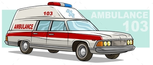Cartoon Ambulance Emergency Retro Long Car - Man-made Objects Objects