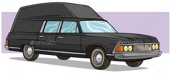 Cartoon Black Long Retro Car with Roof Rack - Man-made Objects Objects