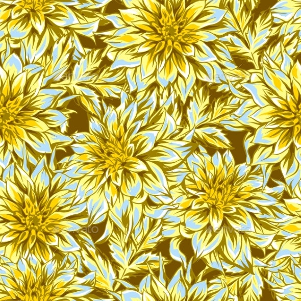 Seamless Pattern with Fluffy Yellow Dahlias - Flowers & Plants Nature