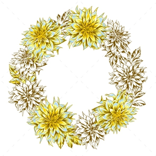 Decorative Wreath with Fluffy Yellow Dahlias - Flowers & Plants Nature