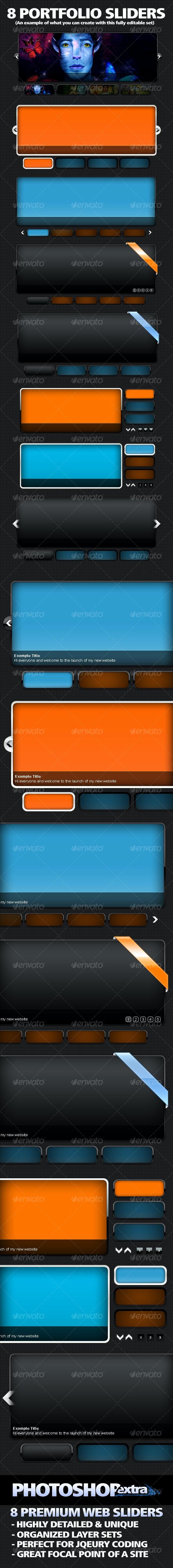 8 Premium Portfolio Sliders - Web Elements