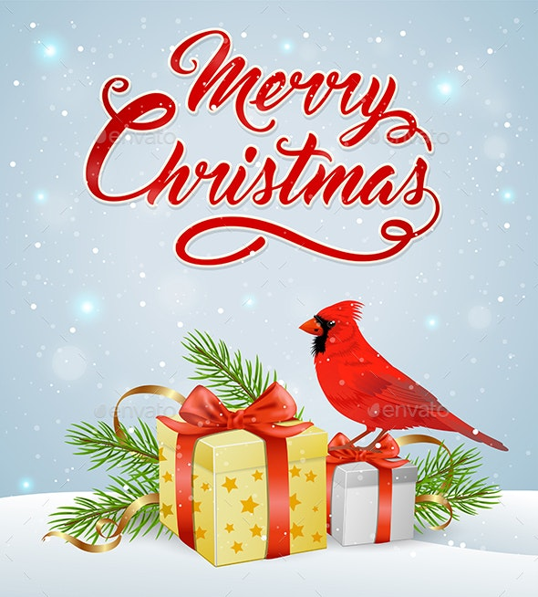Christmas Background With Red Cardinal Bird