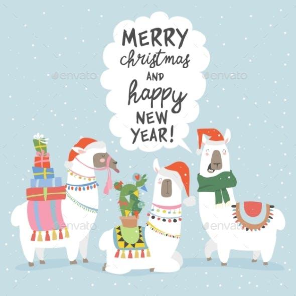 Christmas Card with Llamas