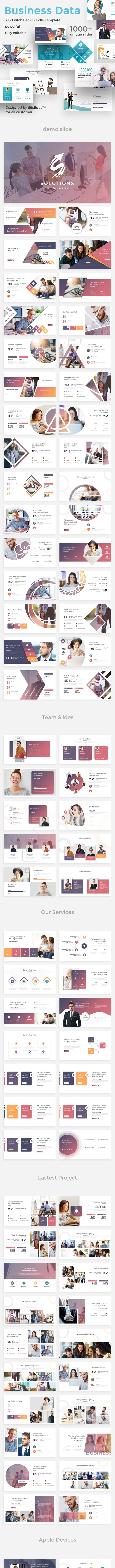Business Data 3 in 1 Pitch Deck Bundle Powerpoint Template