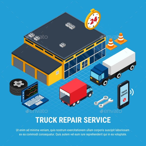 Truck Service Concept - Objects Vectors
