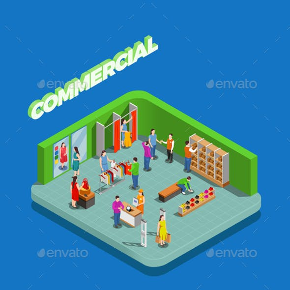 Commercial Consumers Isometric Composition