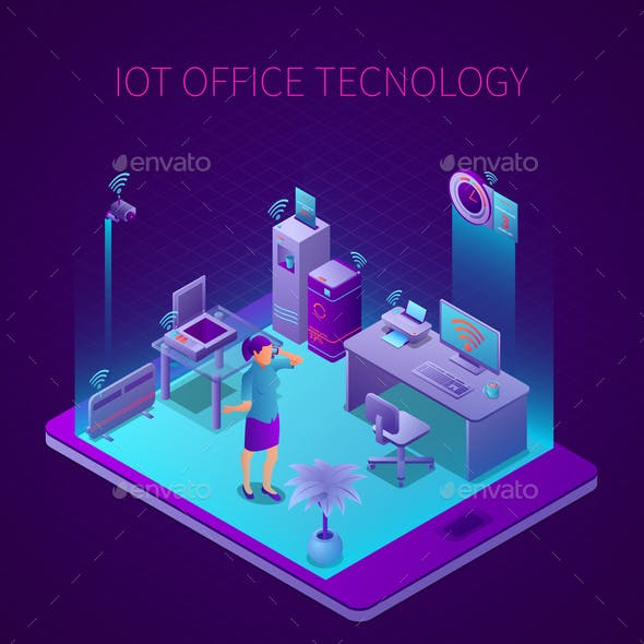 Iot Office Technology Isometric Composition