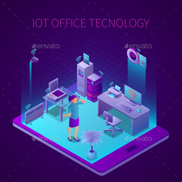 Iot Office Technology Isometric Composition - People Characters