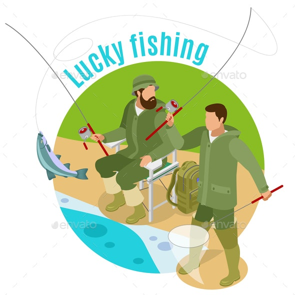 Lucky Fishing Isometric Background - People Characters