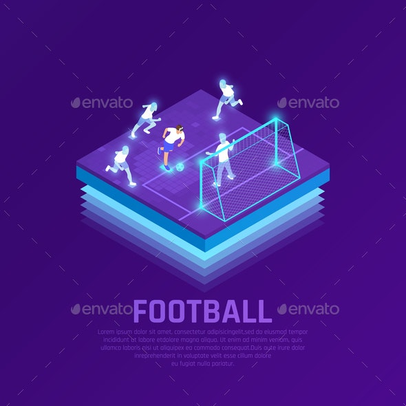 VR Soccer Isometric Composition - People Characters