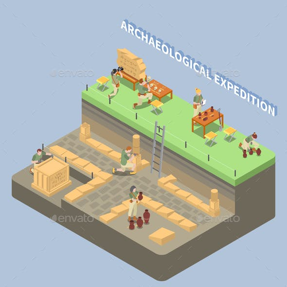 Archeology Isometric Compositon