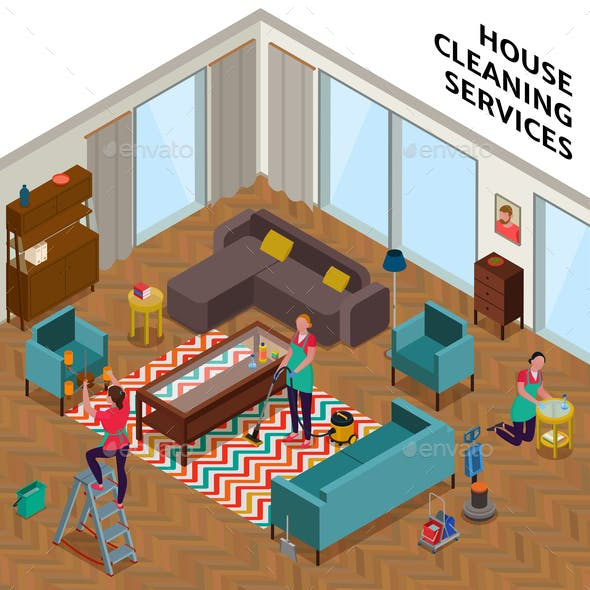 Home Cleaning Services Isometric Illustration