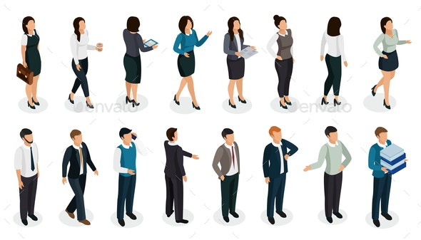 Office People Isometric Set - People Characters