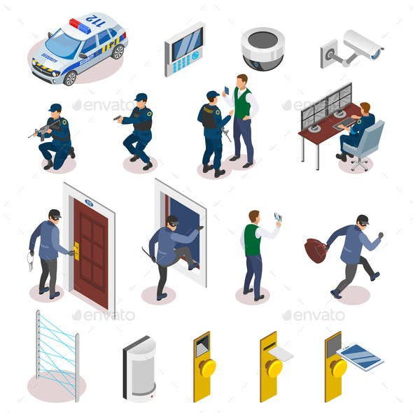 Security Systems Isometric Icons