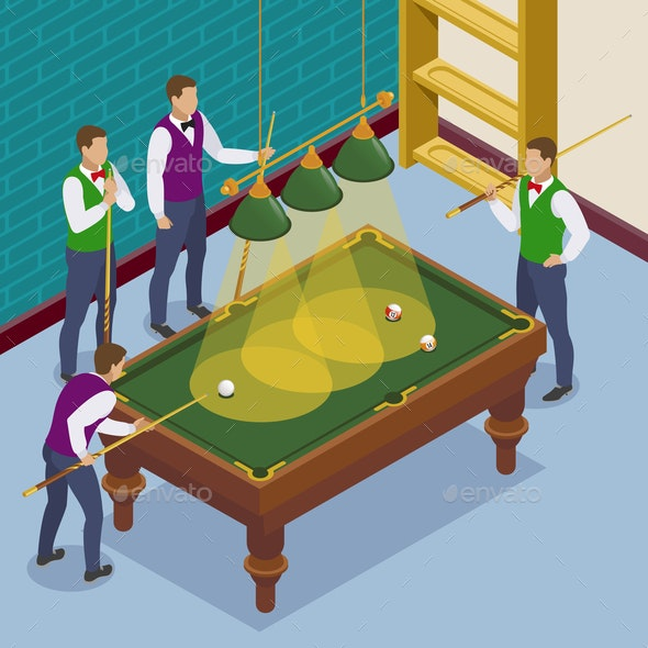 Isometric Billiards Players Composition - Sports/Activity Conceptual