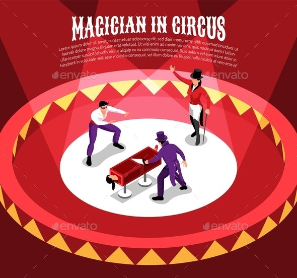 Circus Magicians Isometric Background - People Characters