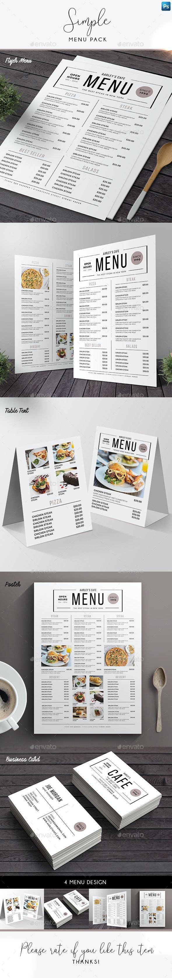 Simple Menu Pack - Food Menus Print Templates