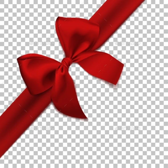 Realistic Red Bow and Ribbon Isolated - Christmas Seasons/Holidays