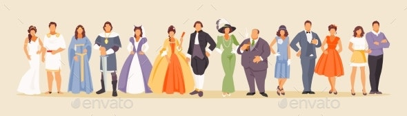 History of Fashion Vector - People Characters
