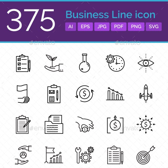 375 Business line Icons Pack