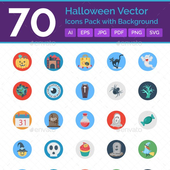 70 Halloween Vector Icons with background