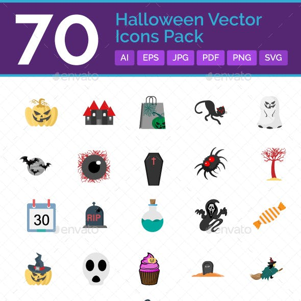 70 Halloween Vector Icons pack
