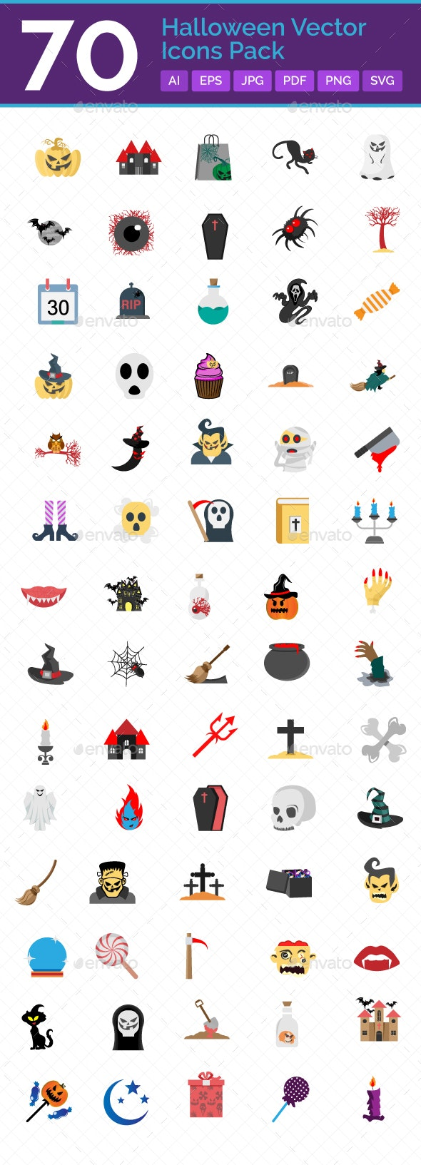 70 Halloween Vector Icons pack - Icons