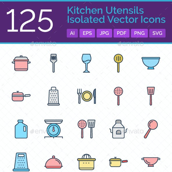 125 Kitchen Utensils Isolated Vector Icons