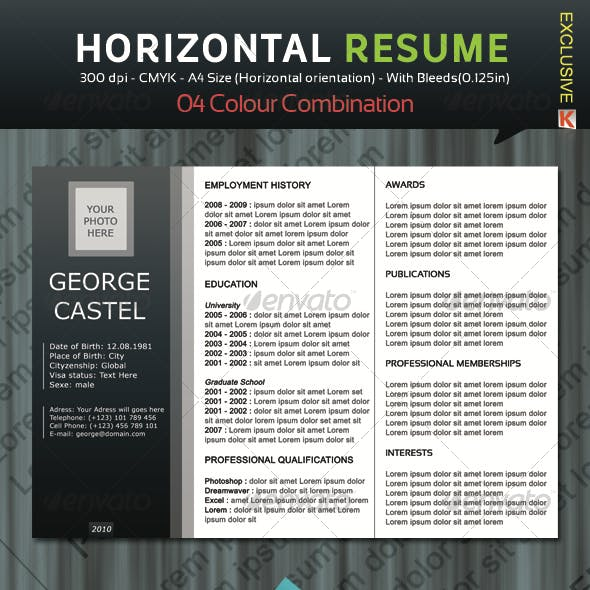 Horizontal Resume with 04 Colour Combination