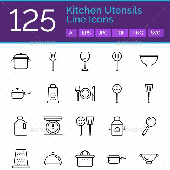 125 Kitchen Utensils Line Icons