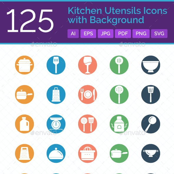 125 Kitchen Utensils Icons with Background