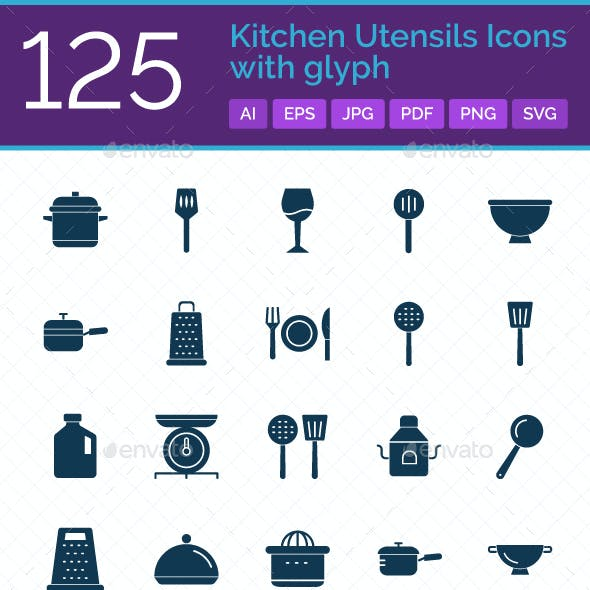 125 Kitchen Utensils Icons with Glyph
