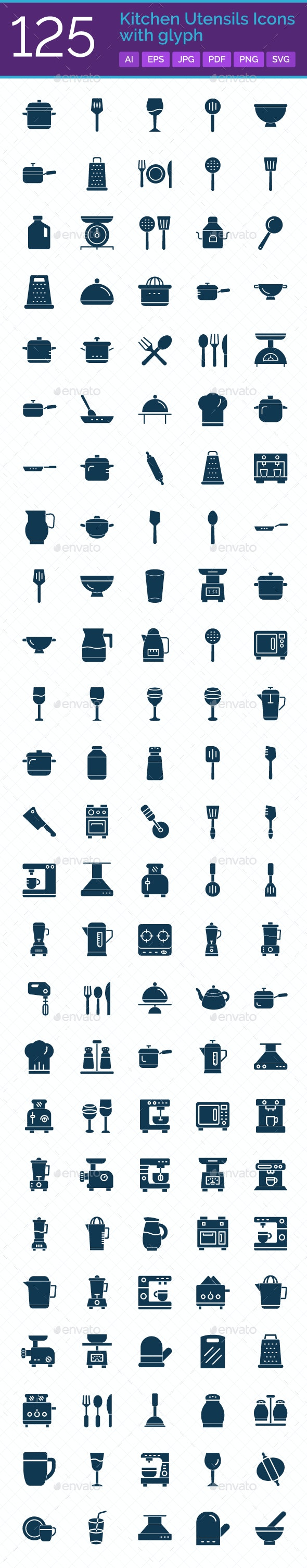 125 Kitchen Utensils Icons with Glyph - Icons