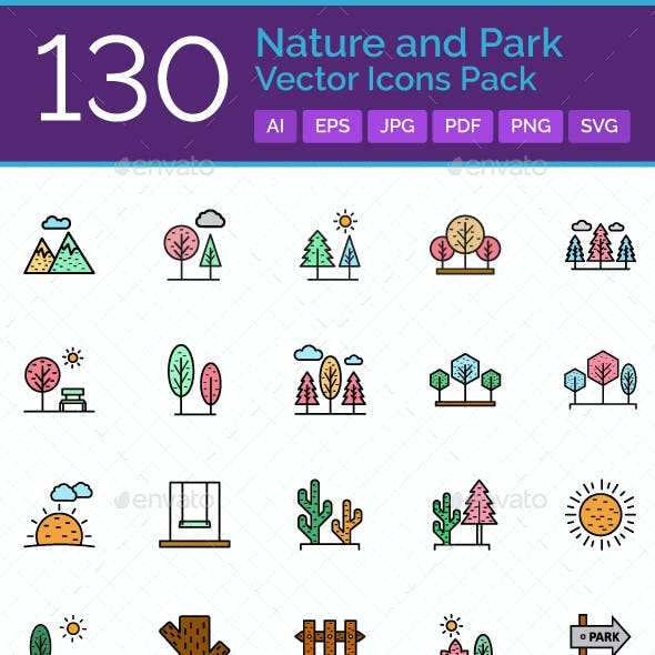 130 Nature and Park Vector Icons Pack