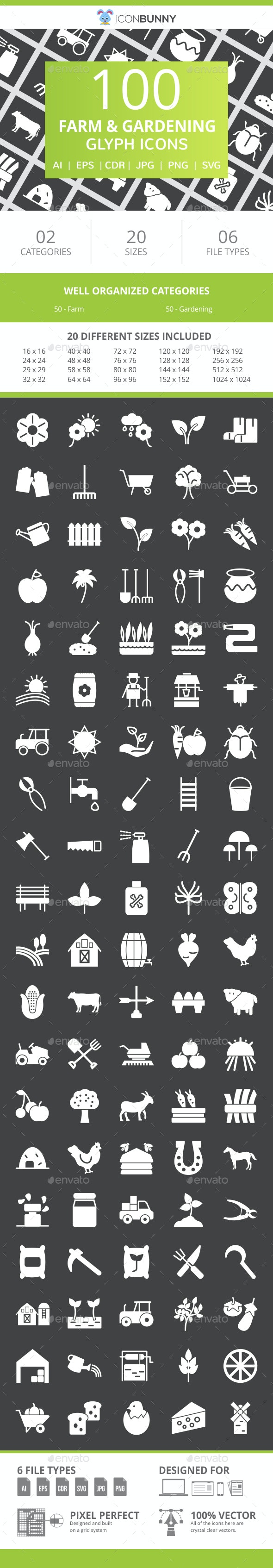 100 Farm & Gardening Glyph Inverted Icons - Icons