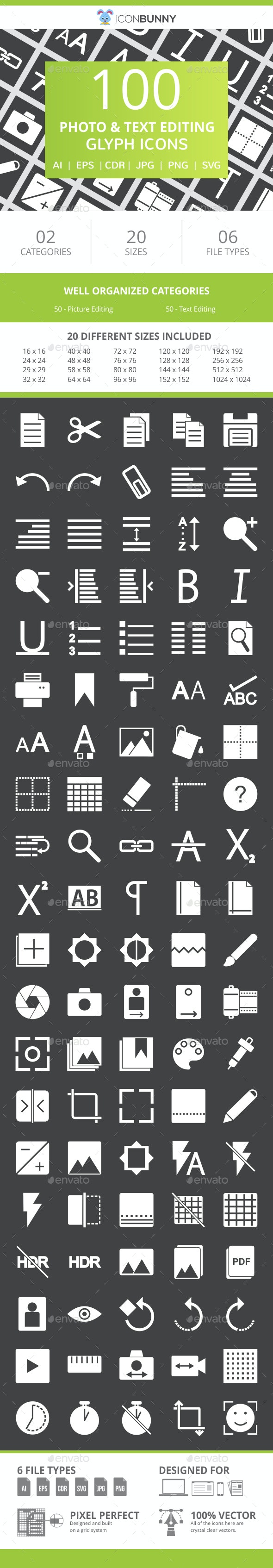 100 Photo & Text Editing Glyph Inverted Icons - Icons