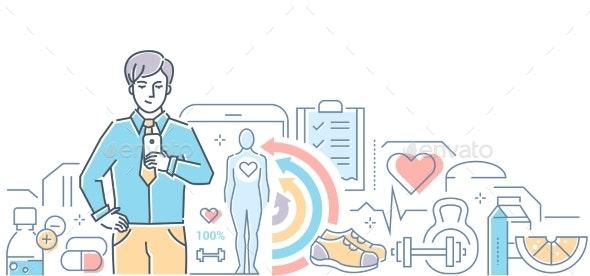 Healthcare Mobile App - Colorful Line Design Style - Health/Medicine Conceptual