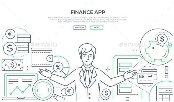 Finance App - Colorful Line Design Style Vector - Concepts Business